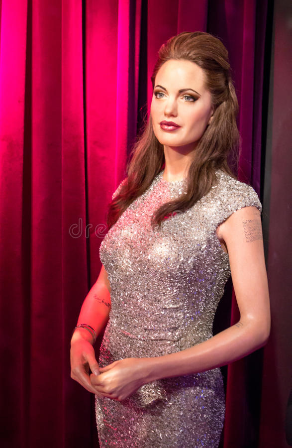 Wax figur of Angelina Jolie. In Madame Tussauds museum in Amsterdam stock images