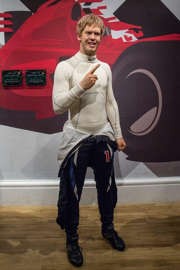 Wax-figur Sebastian Vettel i Madame Tussaud royaltyfri bild
