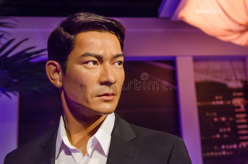 The wax figure of Andy Lau in Madame Tussauds Singapore. Andy Lau is a Hong Kong actor, singer and film producer. Singapore - September 15,2015 : The wax figure stock photo