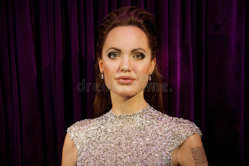 Wax figure of Angelina Jolie in Madame Tussauds Wax museum in Amsterdam, Netherlands. Amsterdam, Netherlands - March, 2017: Wax figure of Angelina Jolie in royalty free stock photo