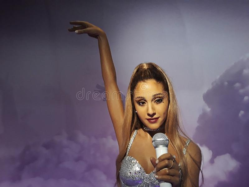 Wax figure of Ariana Grande, Madame Tussauds, Amsterdam. 1 August 2018, Madame Tussauds Wax museum in Amsterdam, the Netherlands, Europe. Wax figure of Ariana royalty free stock photography