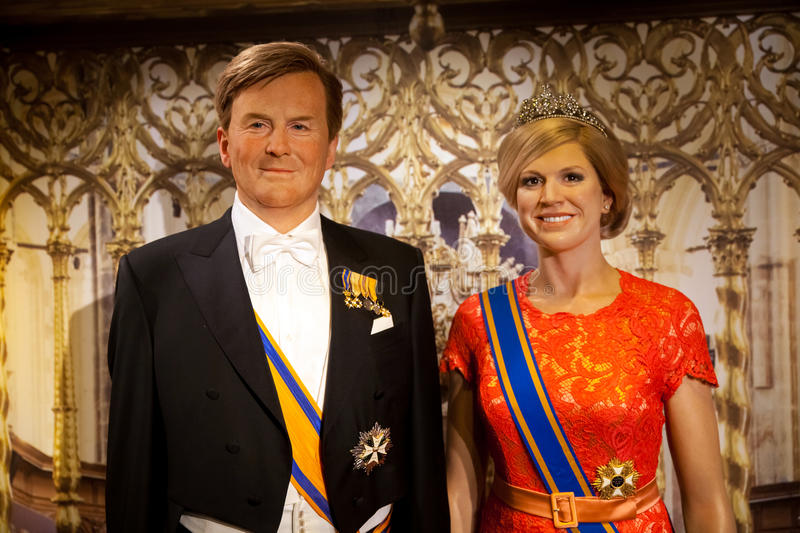 Wax figure of Dutch Royal family in Madame Tussauds Wax museum in Amsterdam, Netherlands royalty free stock image