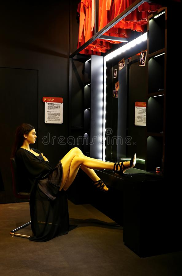 Kendall jenner wax figure at madame tussauds in hong kong stock image