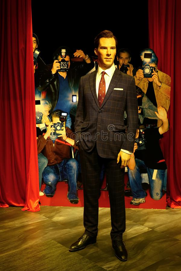 Benedict cumberbath, the english actor wax statue at madame tussauds in hong kong royalty free stock photo