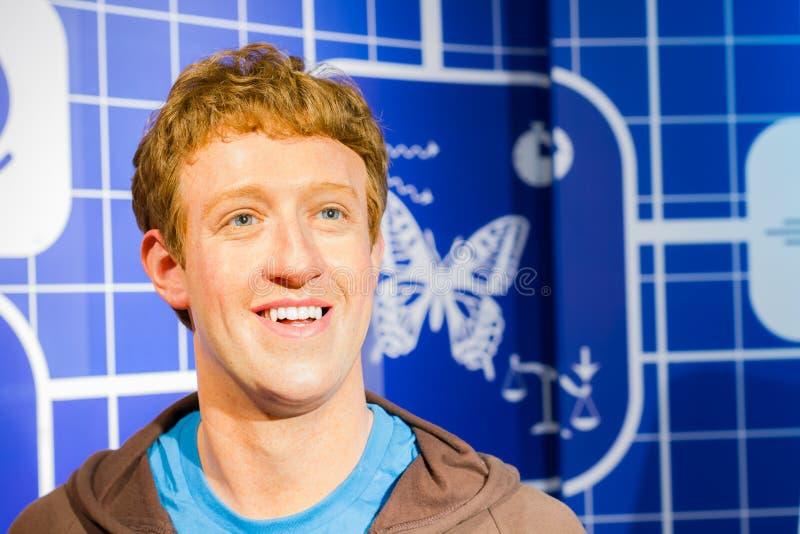 Wax figure of the famous Mark Zuckerberg stock image
