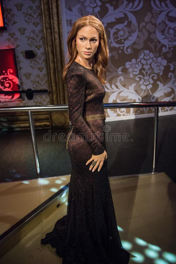 Wax figure of Jennifer Lopez at Madame Tussaud stock photography