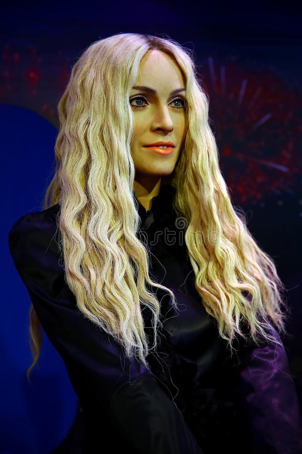 Wax statue of american pop diva, madonna louise ciccone, on display at madame tussauds in hong kong. The wax figure of madonna louise cicconem famous american royalty free stock photo