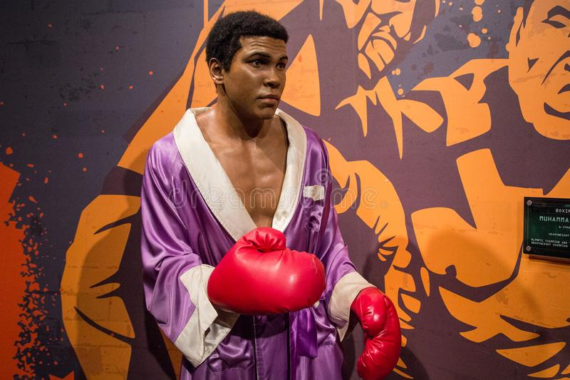 Wax figure of Muhammad Ali at Madame Tussaud. Wax figure of american boxer Cassius Clay at Madame Tussauds in London royalty free stock images