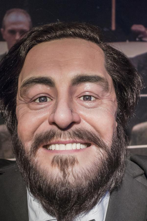 Luciano Pavarotti wax figure. Wax figure museum in Krakow at Floriańska street ., Luciano Pavarotti figure . Poland , Europe royalty free stock images