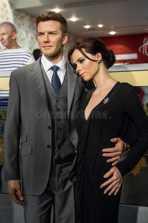Wax figures of David and Victoria Beckham royalty free stock photography
