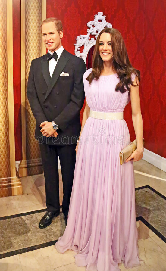Wax Figures of Prince William and Kate Middleton. Prince William and Kate Middleton, the Duke and Duchess of Cambridge, are immortalized in wax at Madame stock photos