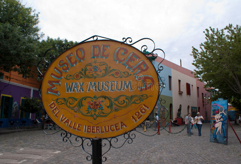 Wax Museum in Caminito. Wax Museum sign in El Caminito, tango district in Buenos Aires royalty free stock photo