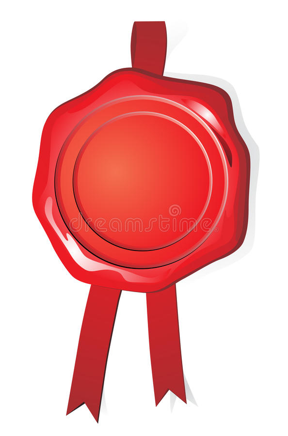 Wax red seal. On white background royalty free illustration