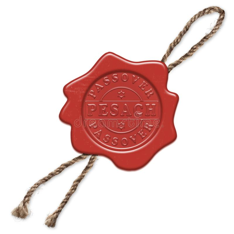 Confirm and save. Wax red seal with rope isolated on a white background. Text inside dedicated to Passover holiday Pesach in Hebrew - great Jewish holiday stock illustration