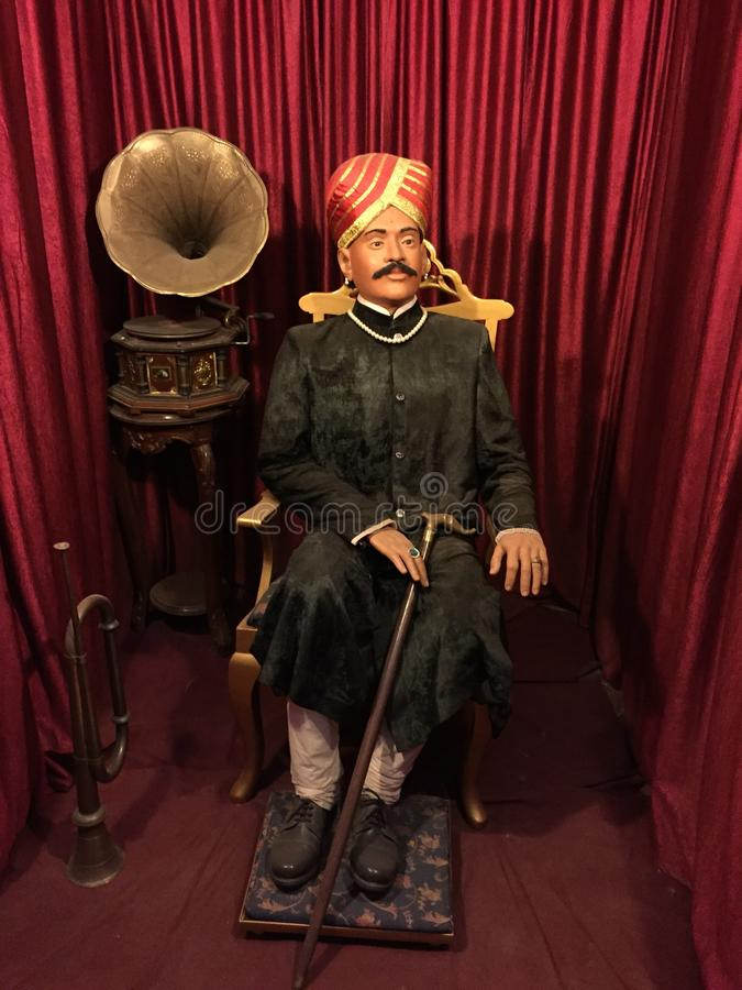 Wax sculpture of a high ranking official in the court of Princely State of Mysore royalty free stock photography