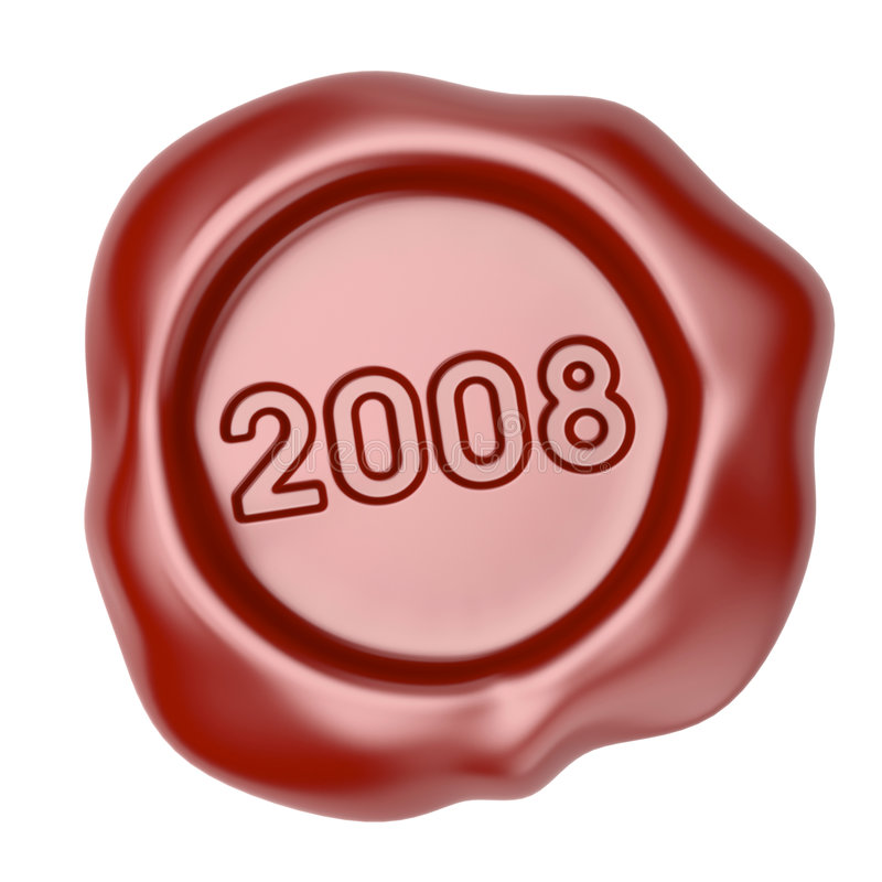 Wax seal with 2008 text. 2008 year is coming, 3d illustration royalty free illustration