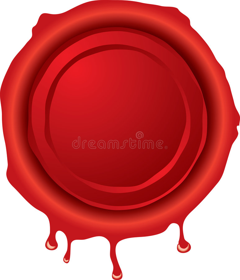 Wax seal. Illustration of an old fashioned hot wax seal in red vector illustration