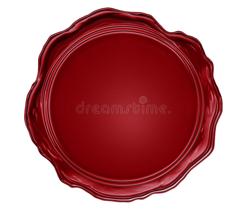 Wax seal with blank field. Illustration of the wax seal with blank field isolated on white vector illustration