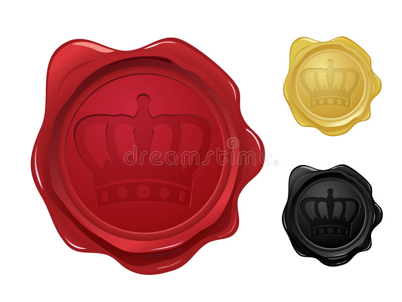 Wax seal with crown stamp vector illustration