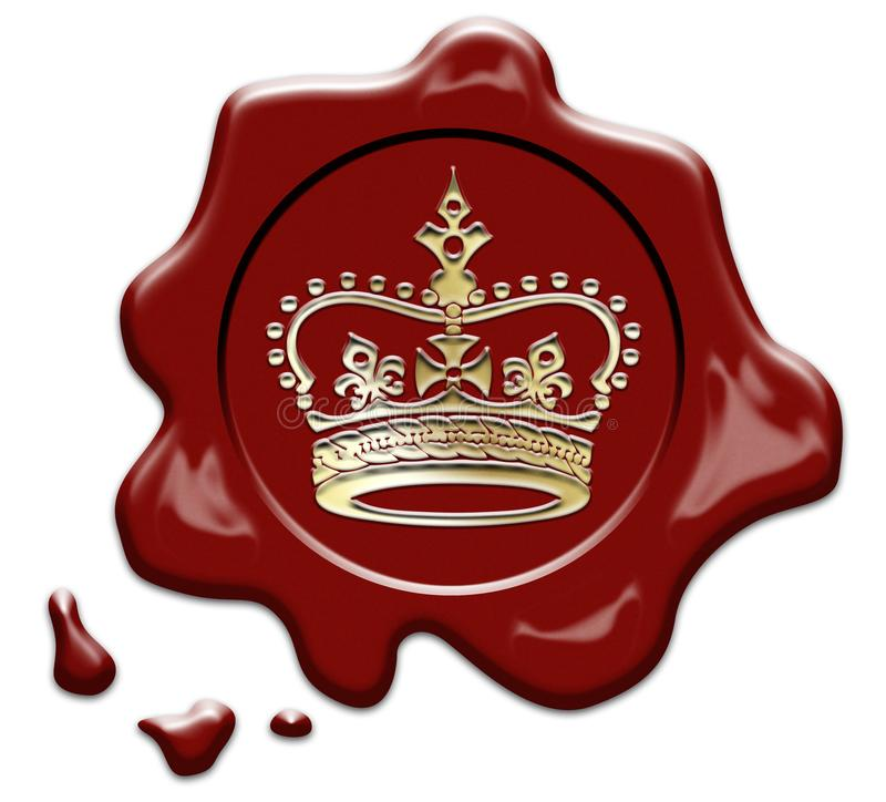 Wax seal with crown stamp stock photos