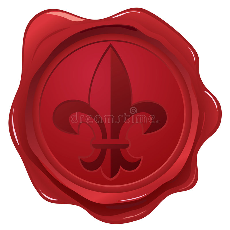 Download Wax Seal With Fleur De Lys Stamp Stock Vector - Illustration: 7601418
