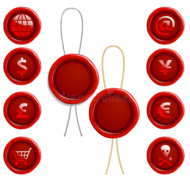 Wax Seal Icons. A set of wax seal icons with symbols such as @, dollar signs, shopping carts and international money royalty free illustration