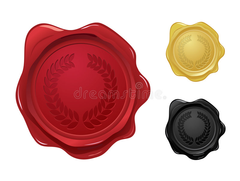Wax Seal With Laurel Wreath Stamp Stock Photos