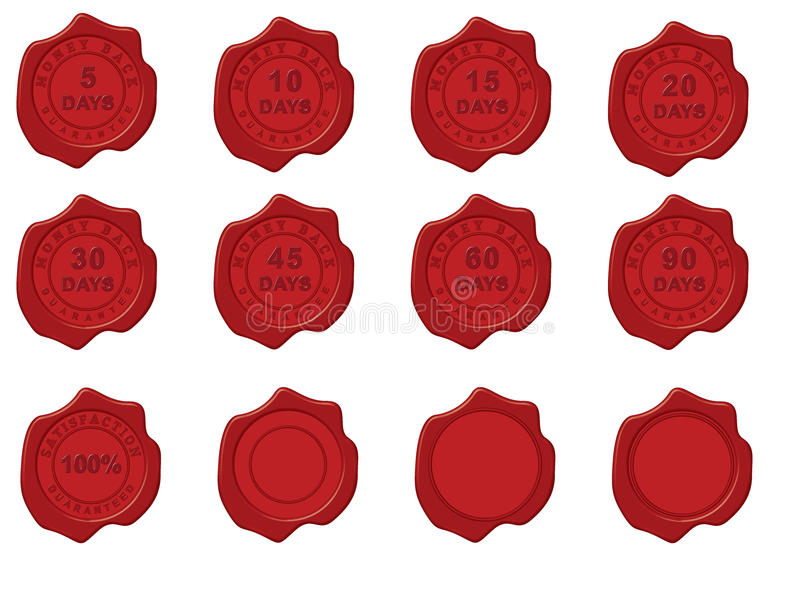 Wax Seal with money back stamp. Different wax seals with money back guarantee for different amount of days. 100% satisfaction guaranteed stamp and empty seals royalty free illustration