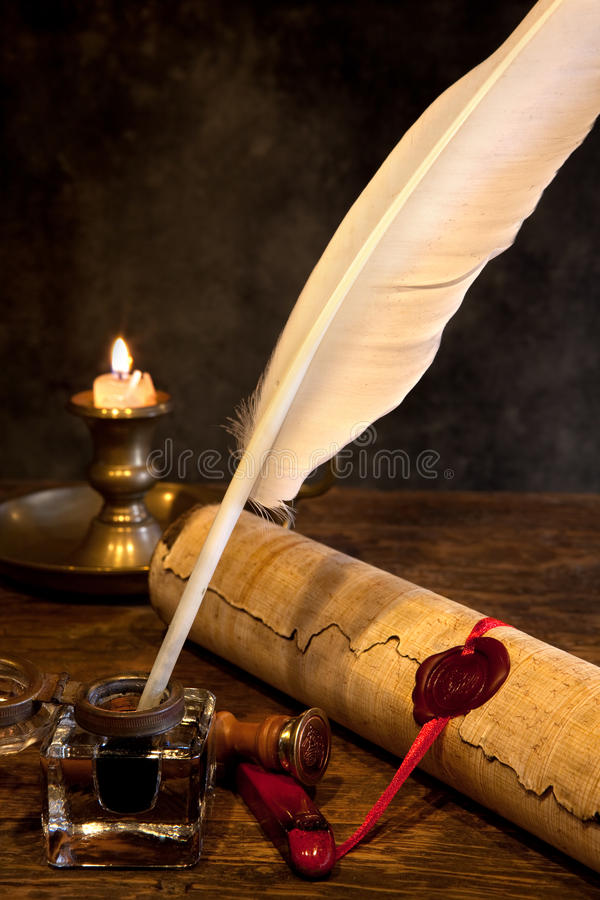 Wax seal and quill pen stock photos