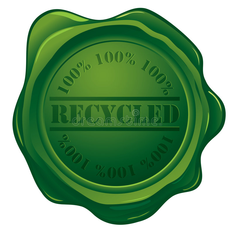 Download Wax Seal With Recycled Stamp Stock Vector - Illustration of green, ecological: 7758902