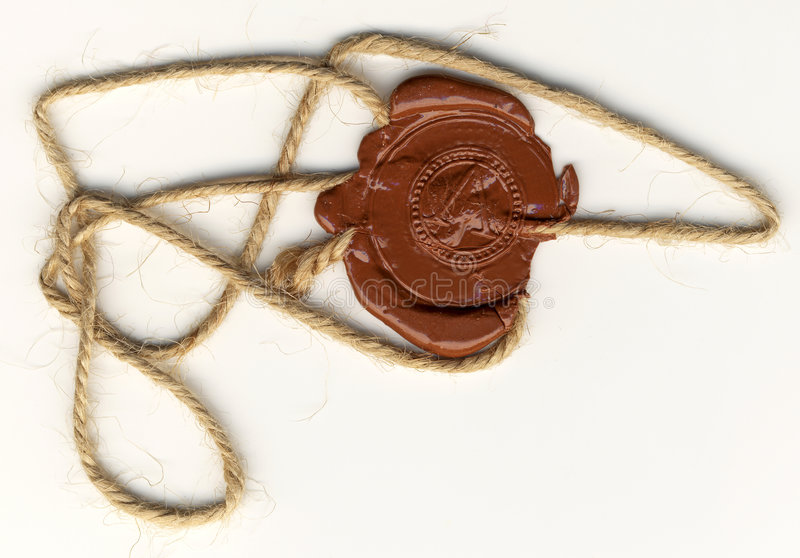 Wax seal with rope. The Wax seal with rope stock image