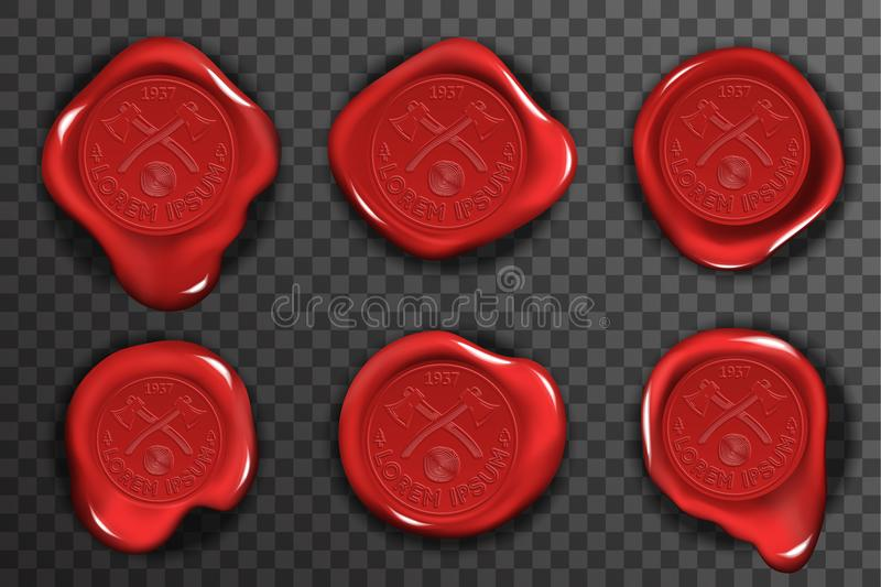 Wax seal stamp red certificate sign transparent background mockup icons set 3d realistic design vector illustration. Wax seal stamp red certificate sign royalty free illustration