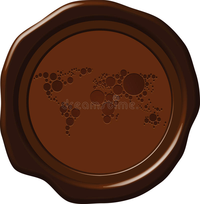 Download Wax seal with world map stock vector. Illustration of global - 32637107