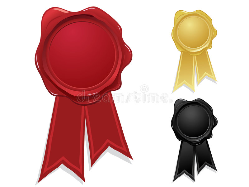 Wax seals with ribbons stock illustration