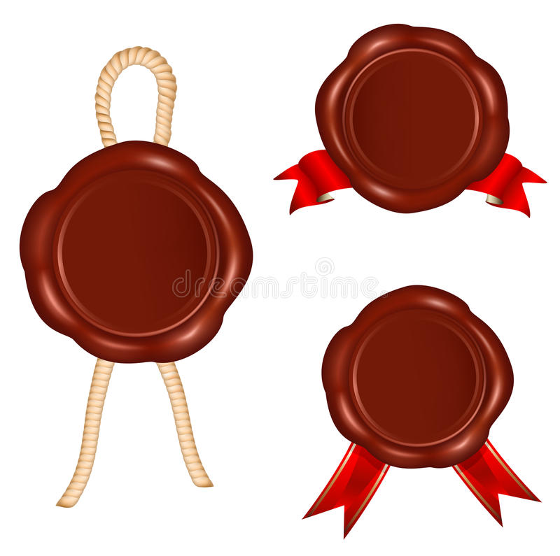Wax seals with rope and red ribbons. vector illustration