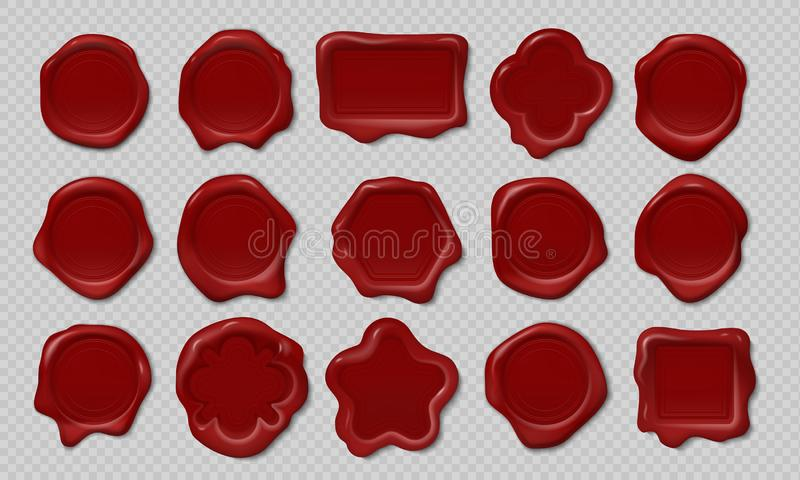 Wax stamp. Old embossed envelope label, heart triangle round royal medieval mockup shapes. Vector realistic candle wax stock illustration