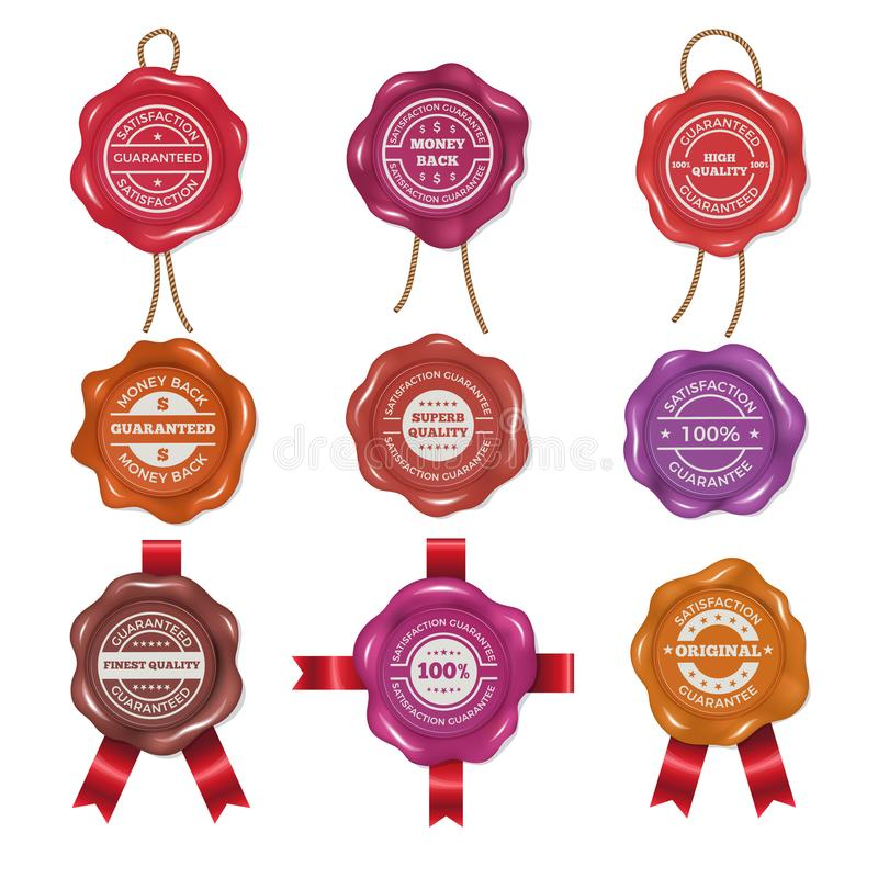 Wax stamps with different promo labels. Vector pictures set royalty free illustration