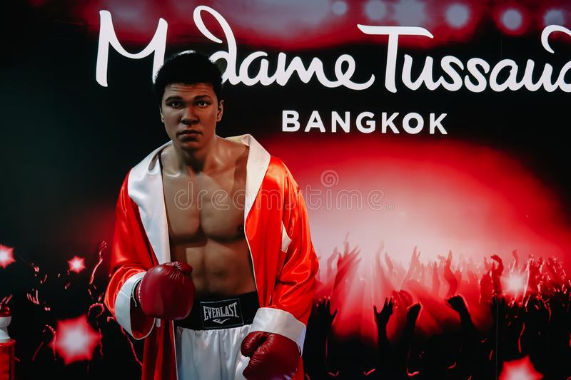 The wax statue of legendary boxer Muhammad Ali is at the Madame Tussaud Wax Museum in Bangkok, Thailand. Bangkok, Thailand - Feb 6, 2019: The wax statue of stock images