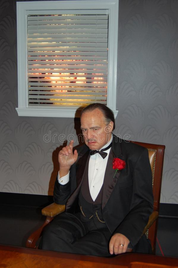 Wax statue of Marlon Brando, the Godfather stock photo