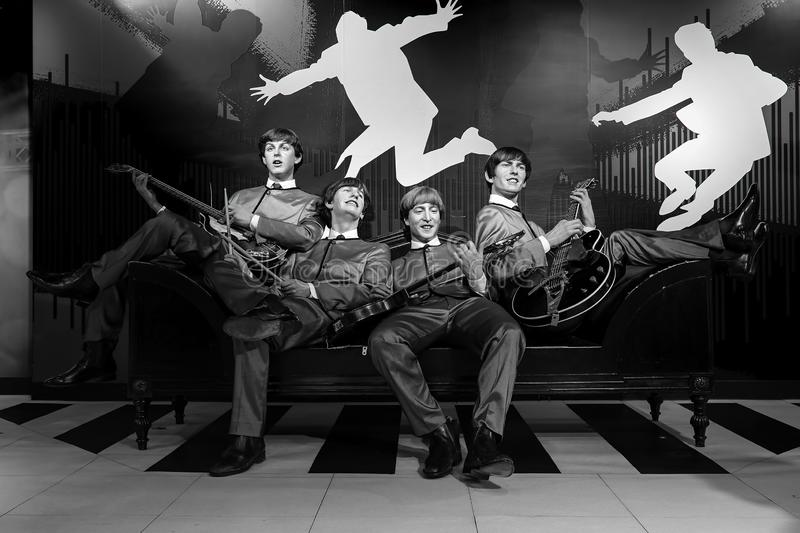 Wax statues of beatles music group on display at madame tussauds in hong kong stock image