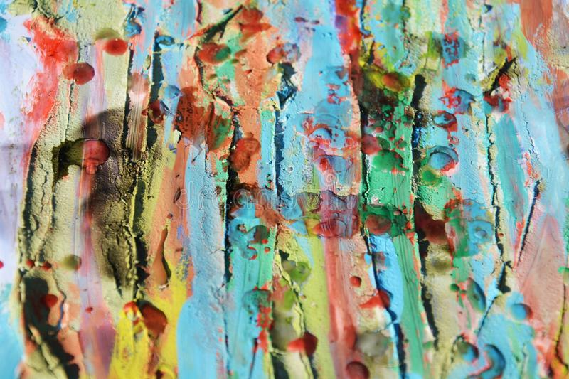 Wax, watercolor hues, mud and burnt paper, abstract background. Watercolor hues, muddy spots and paint on burnt paper, painting abstract background in red, green royalty free stock images
