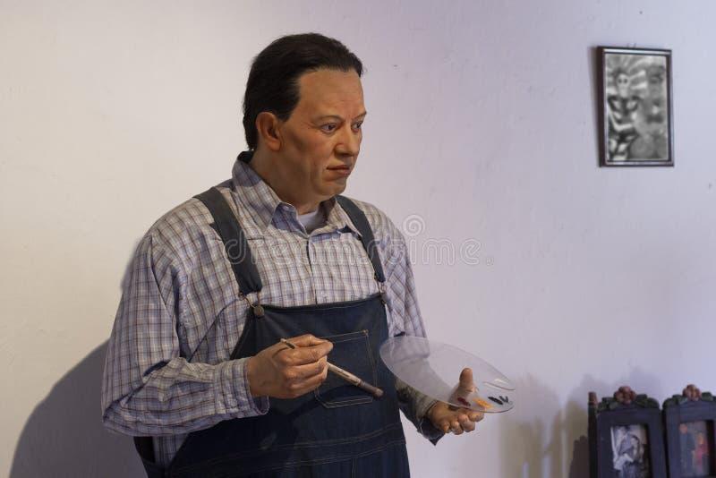 Waxfiguur van de Mexicaanse schilder Diego Rivera stock foto's