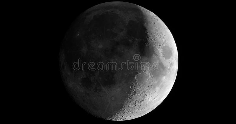 Waxing crescent moon seen with telescope. Waxing crescent moon seen with an astronomical telescope - 4K format close crop in black and white (taken with my own royalty free stock photos