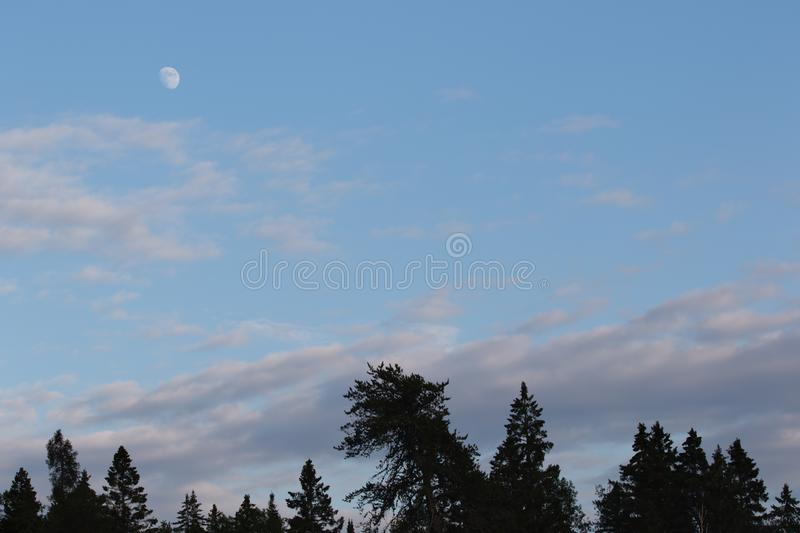 Waxing Gibbous Moon Phase in Evening While the Sun is Still Out stock images