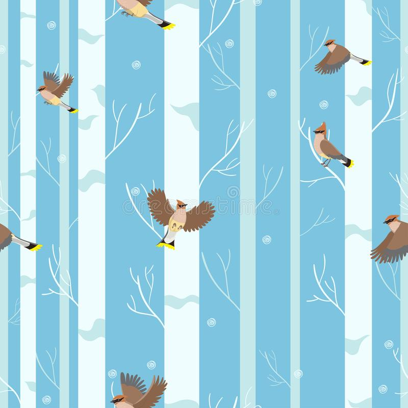Waxwings birds seamless pattern in winter forest. Vector stock illustration
