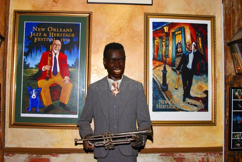 Waxwork beeld van Louis Armstrong stock foto's
