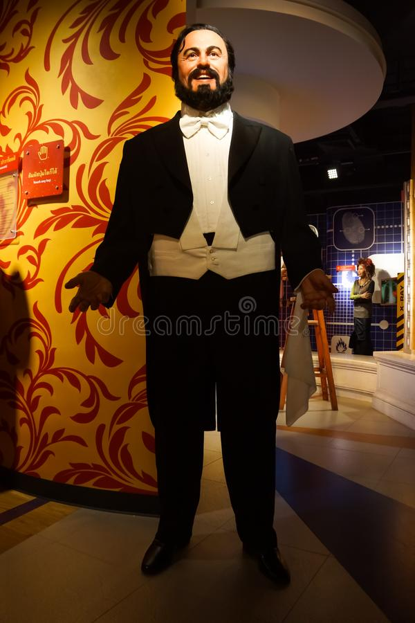 A waxwork of Luciano Pavarotti at Madame Tussauds wax museum. Bangkok, Thailand, March 2013 A waxwork of famous Luciano Pavarotti on display to promote Madame royalty free stock image