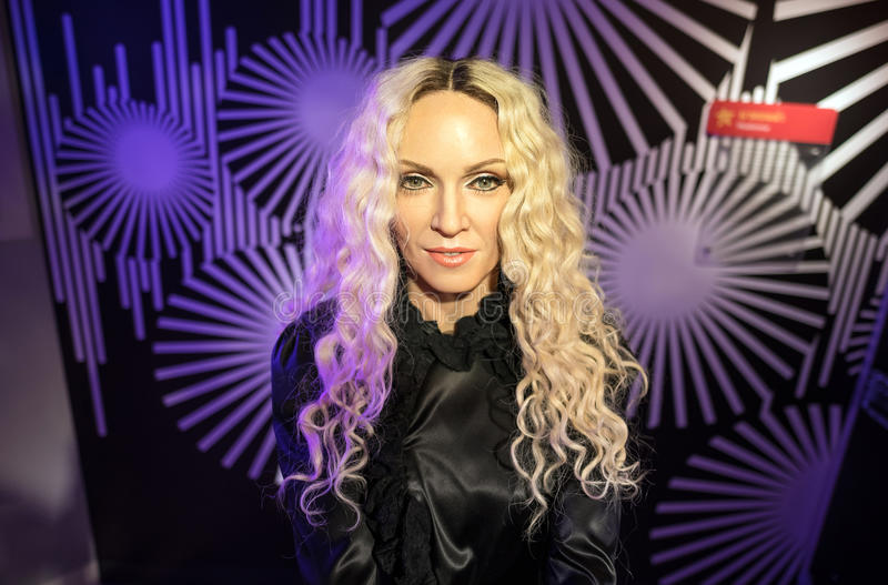 Waxwork of Madonna on display. BANGKOK-JAN 29:: A waxwork of Madonna on display at Madame Tussauds on January 29, 2016 in Bangkok, Thailand. Madame Tussauds' royalty free stock images