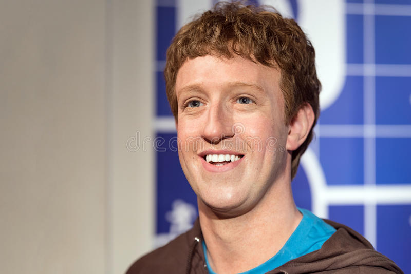 Waxwork of Mark Zuckerberg on display at Madame Tussauds on January 29, 2016 in Bangkok, Thailand. royalty free stock photography