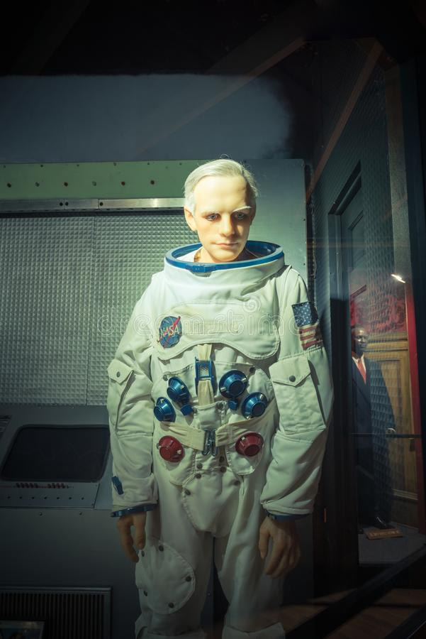 A waxwork of Neil Alden Armstrong display at Josephine Tussaud. HOT SPRINGS, AKANSAS, US - OCT 16, 2016:A waxwork of Neil Alden Armstrong display at Josephine stock images